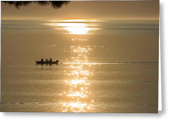 Boats In Water Greeting Cards - Early Morning Fishermen Greeting Card by Rob Weisman