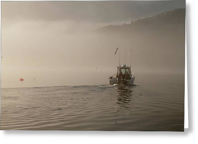 Juan De Fuca Greeting Cards - Early Morning Fishing Boat Greeting Card by Chad Davis