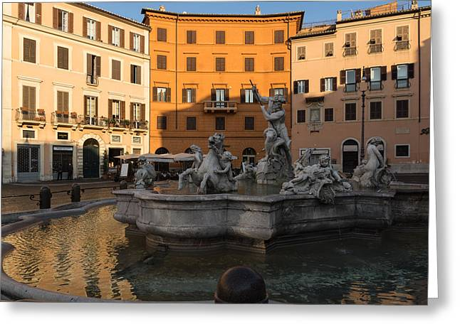 Mesmerising Greeting Cards - Early Morning Glow - Neptune Fountain on Piazza Navona in Rome Italy Greeting Card by Georgia Mizuleva