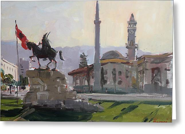 Early Morning In Tirana Greeting Card by Ylli Haruni