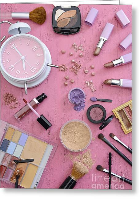 Powder Greeting Cards - Early morning makeup rush Greeting Card by Milleflore Images