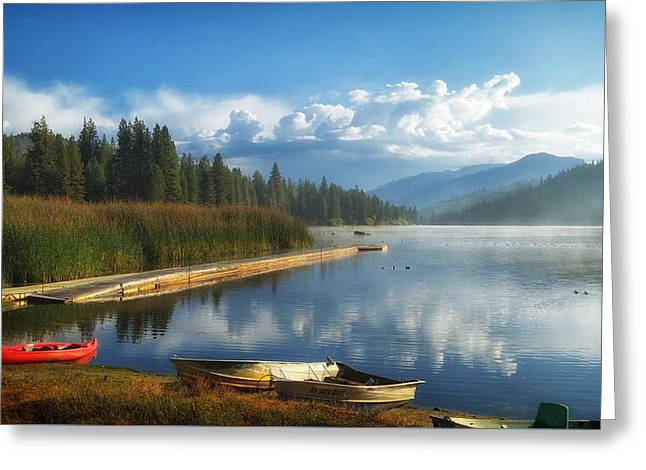 Recently Sold -  - Docked Boat Greeting Cards - Early Morning On Hume Lake California Greeting Card by P J Crz