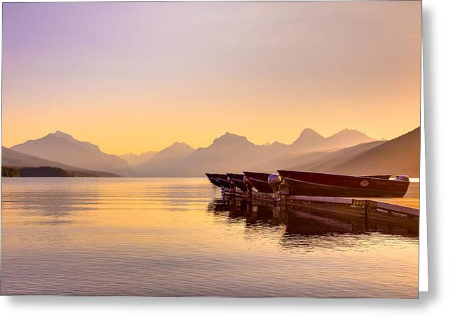 Hdr Landscape Greeting Cards - Early Morning on Lake McDonald Greeting Card by Adam Mateo Fierro