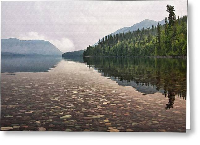 Lake Mcdonald Greeting Cards - Early Morning on Lake McDonald II Greeting Card by Sharon Foster