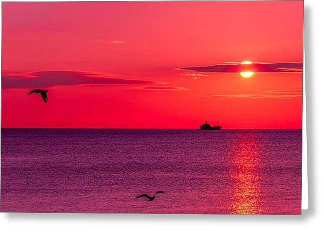 Beautiful Scenery Greeting Cards - Early morning on the sea Greeting Card by Serhii Simonov