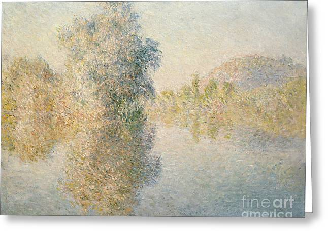 Reflected On The River Greeting Cards - Early Morning on the Seine at Giverny Greeting Card by Claude Monet