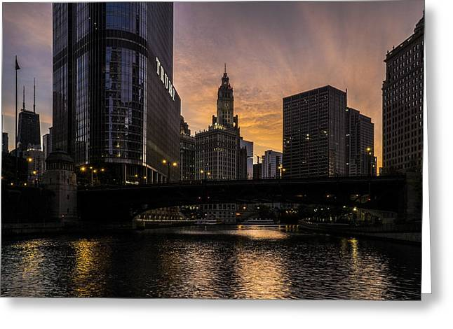 Chicago Flag Greeting Cards - early morning orange sky on the Chicago Riverwalk Greeting Card by Sven Brogren