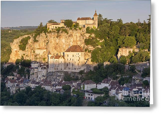 Historic Home Greeting Cards - Early morning over Rocamadour Greeting Card by Brian Jannsen