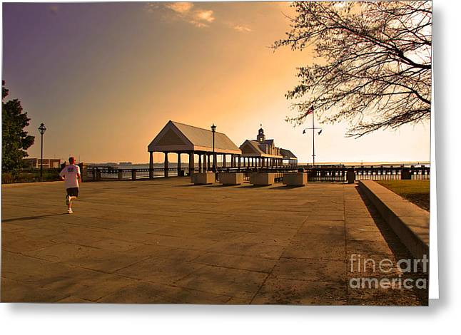 Recently Sold -  - Jogging Greeting Cards - Early Morning Run Greeting Card by Wendy Mogul