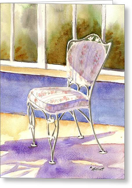 Chairs Greeting Cards - Early Morning Shadows Greeting Card by Marsha Elliott
