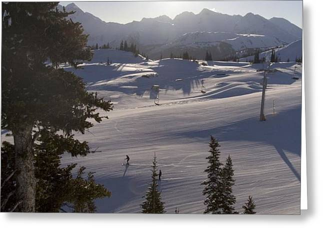 Early Morning Skiing Greeting Card by Taylor S. Kennedy