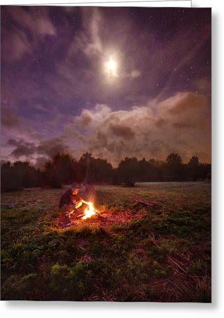 Campfire Greeting Cards - Early Morning Solitude Greeting Card by Phil Koch