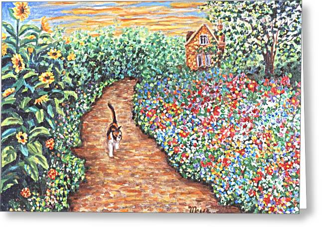 Kittens Greeting Cards - Early Morning Stroll Greeting Card by Linda Mears