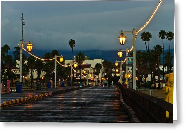 Streetlight Greeting Cards - Early Morning Walk on Stearns Pier Greeting Card by Connie Cooper-Edwards
