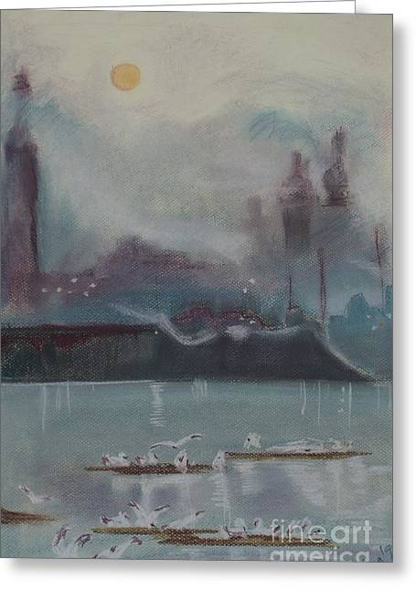 Downtown Pastels Greeting Cards - Early mornings meeting Greeting Card by Tiina Rauk