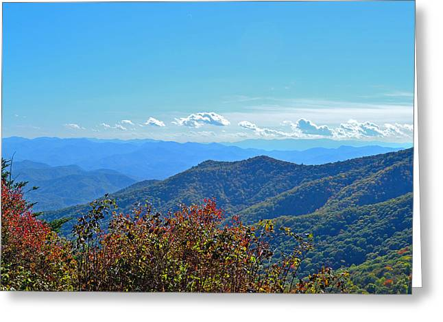 Haze Greeting Cards - Early Mountain Autumn Greeting Card by James Fowler