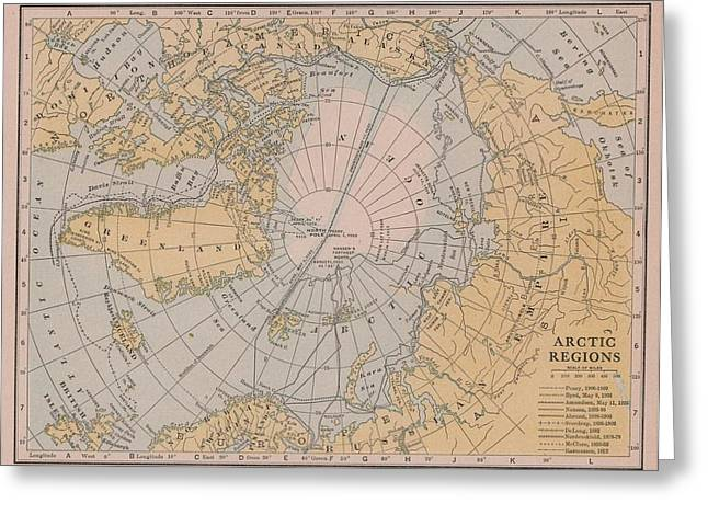 Nansen Greeting Cards - Early North Pole Explorations Map Arctic Regions Greeting Card by Joshua Hullender