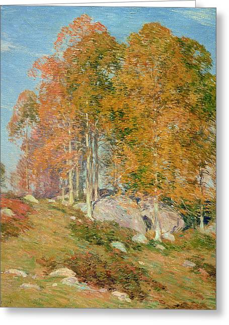 Fall Grass Greeting Cards - Early October Greeting Card by Willard Leroy Metcalf