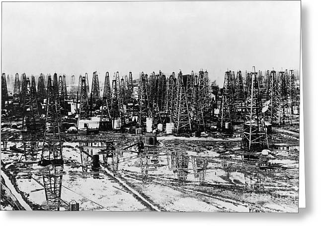 Early Oil Field Greeting Card by Granger
