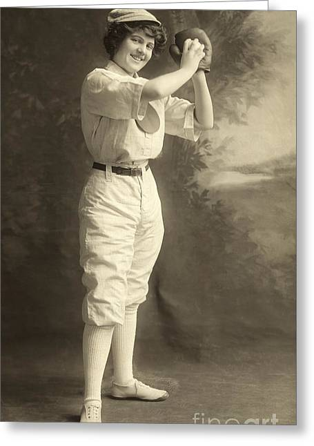 Early Portrait Of A Woman Baseball Player Greeting Card by American School