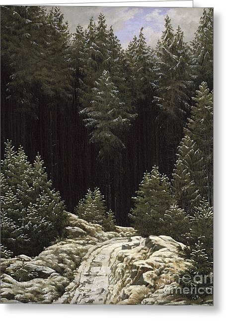 Woodland Scenes Greeting Cards - Early Snow Greeting Card by Caspar David Friedrich
