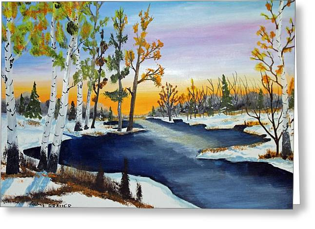 Early Snow Fall Greeting Card by Jack G Brauer