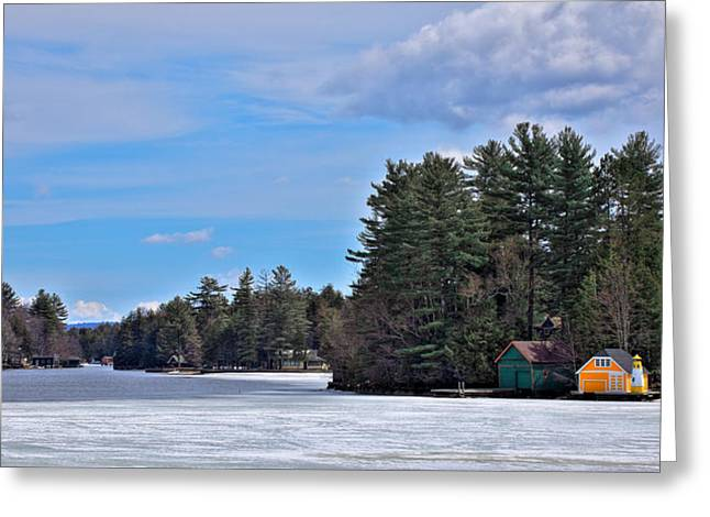 Patterson House Greeting Cards - Early Spring on Old Forge Pond Greeting Card by David Patterson