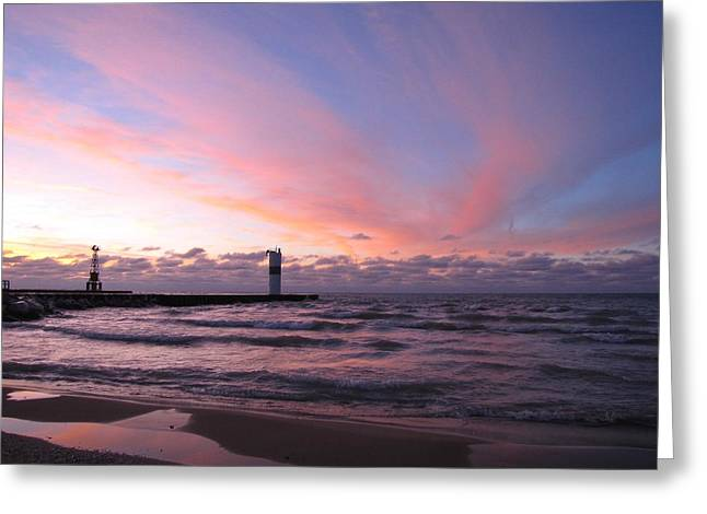 Reflections Of Sky In Water Greeting Cards - Pink Puddles in Pentwater Greeting Card by Jane Greiner