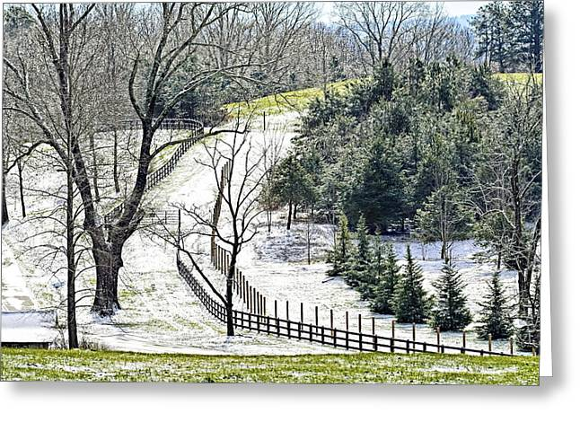 Early Winter Pasture Greeting Card by Susan Leggett
