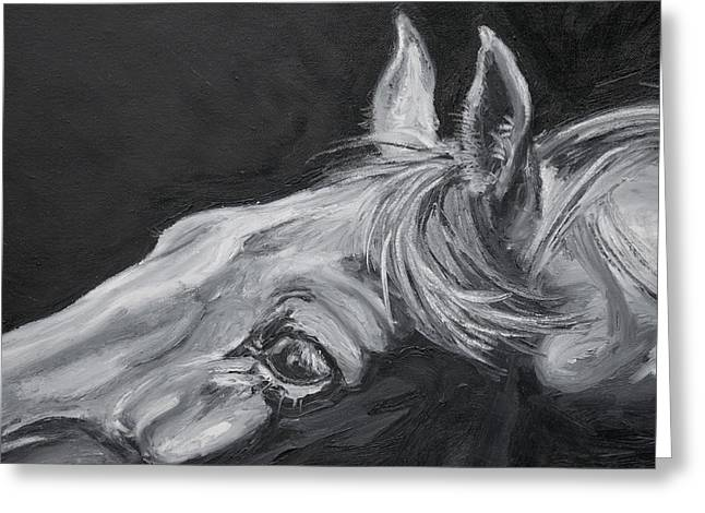 Expressionist Horse Greeting Cards - Earnest Eyes - Detail Greeting Card by Renee Forth-Fukumoto