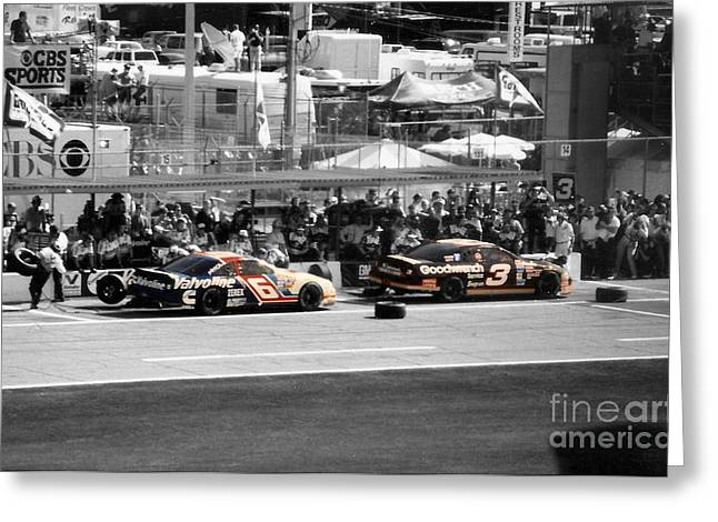 Earnhardt And Martin In The Pits Greeting Card by John Black
