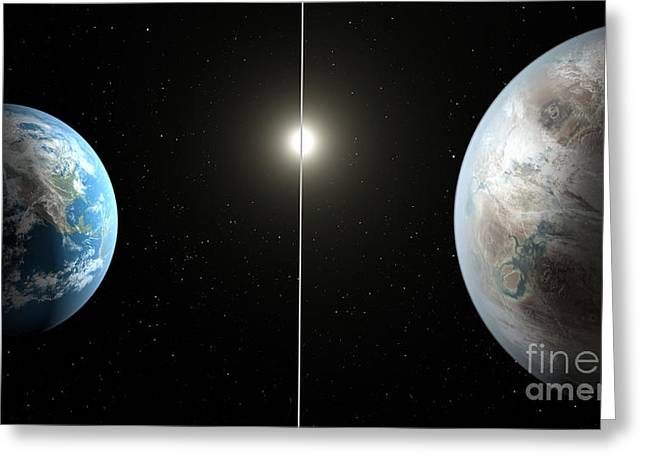 21st Greeting Cards - Earth And Exoplanet Kepler-452b Greeting Card by Science Source
