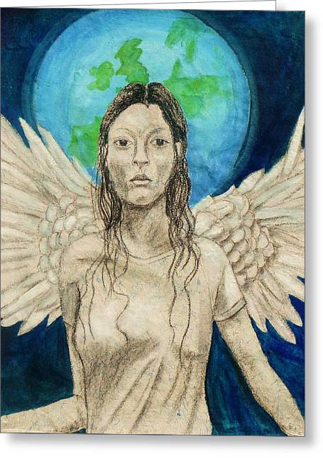 Gaia Drawings Greeting Cards - Earth Angel Greeting Card by Jane Alexandra Cormack