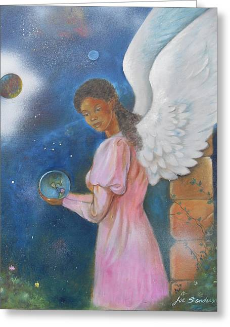 Absorb Paintings Greeting Cards - Earth angel Greeting Card by Joe Sanders
