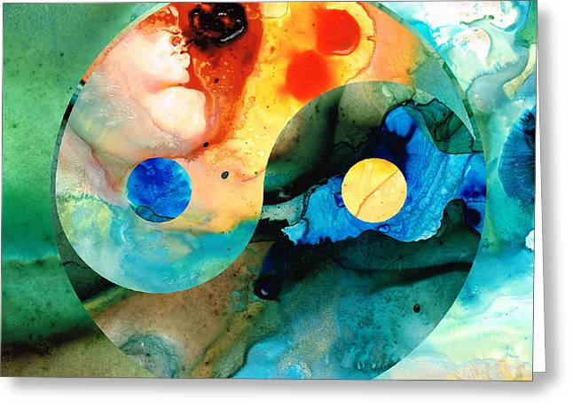 Aged Greeting Cards - Earth Balance - Yin and Yang Art Greeting Card by Sharon Cummings