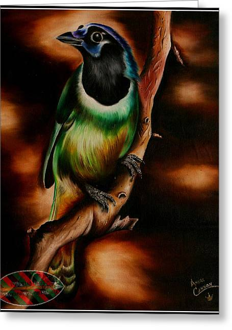Bird On Tree Drawings Greeting Cards - Earth Bird Greeting Card by Andre Cannon