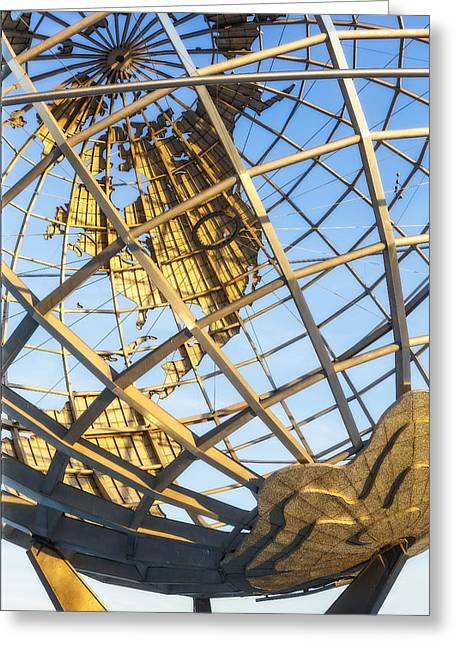 Ny Greeting Cards - Earth Day - NYC Unisphere Greeting Card by Susan Candelario