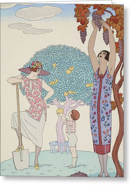 Grape Print Greeting Cards - Earth Greeting Card by Georges Barbier