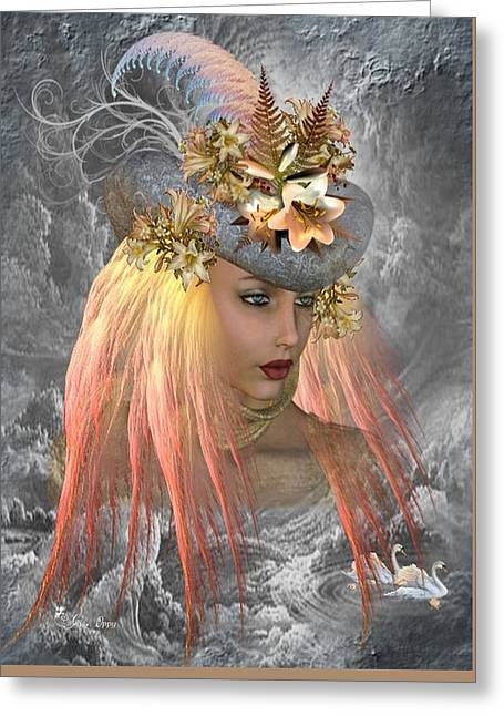 Swans... Greeting Cards - Earth Goddess Greeting Card by Ali Oppy