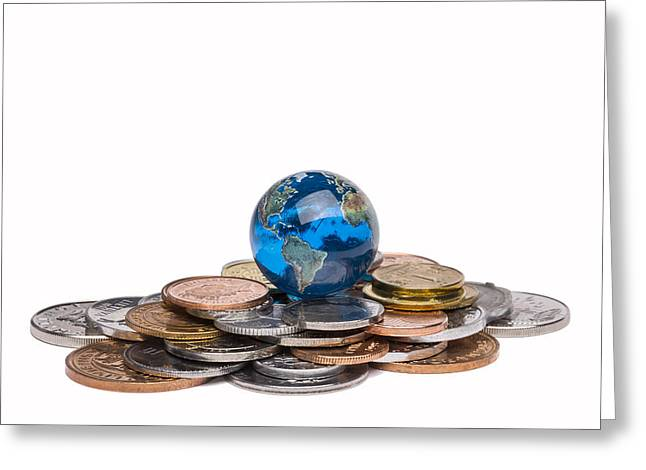 Planet Money Greeting Cards - Earth Marble On Coins 1 Greeting Card by John Brueske