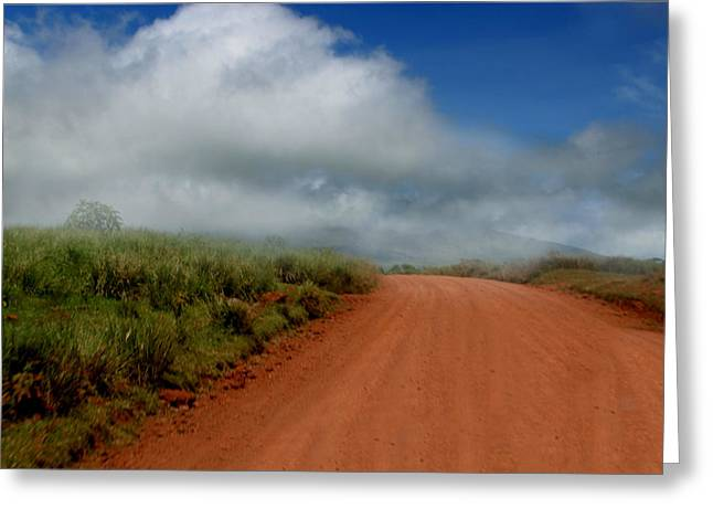 Gravel Road Greeting Cards - Earth meets Sky Greeting Card by Joseph G Holland