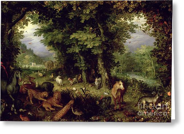 Bible Greeting Cards - Earth or The Earthly Paradise Greeting Card by Jan the Elder Brueghel