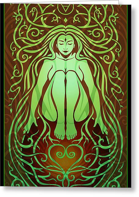 Aged Greeting Cards - Earth Spirit Greeting Card by Cristina McAllister