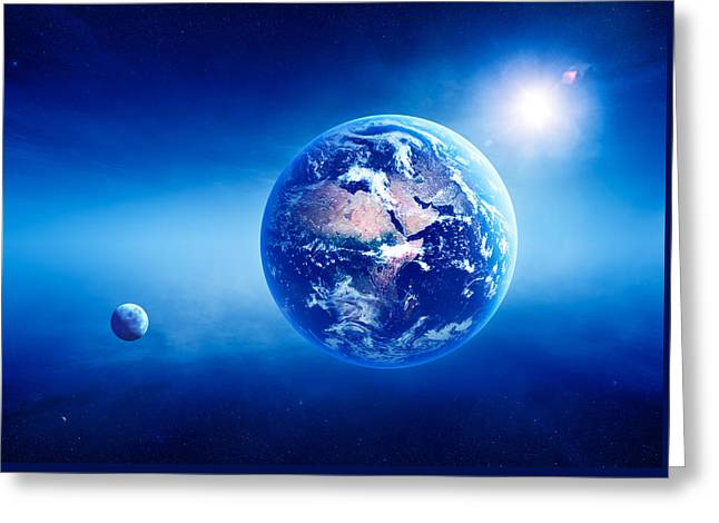Light Rays Greeting Cards - Earth sunrise deep space Greeting Card by Johan Swanepoel