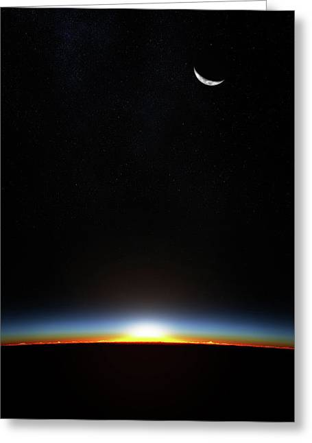 Earth Sunrise Through Atmoshere Greeting Card by Johan Swanepoel