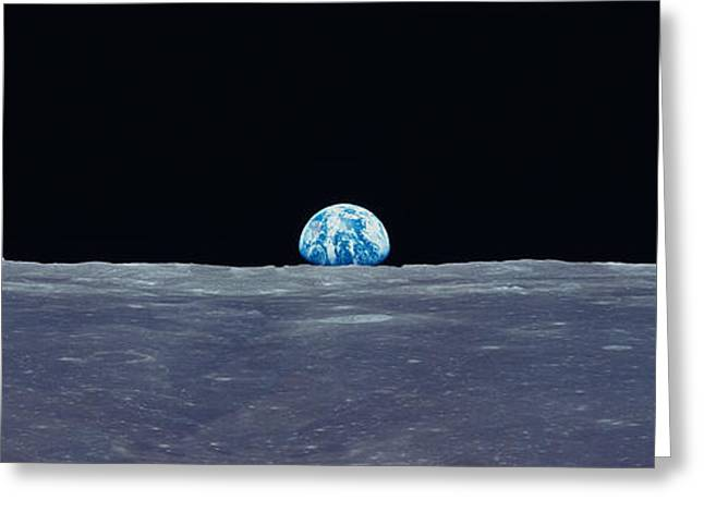 Ascending Risen Greeting Cards - Earth Viewed From The Moon Greeting Card by Panoramic Images