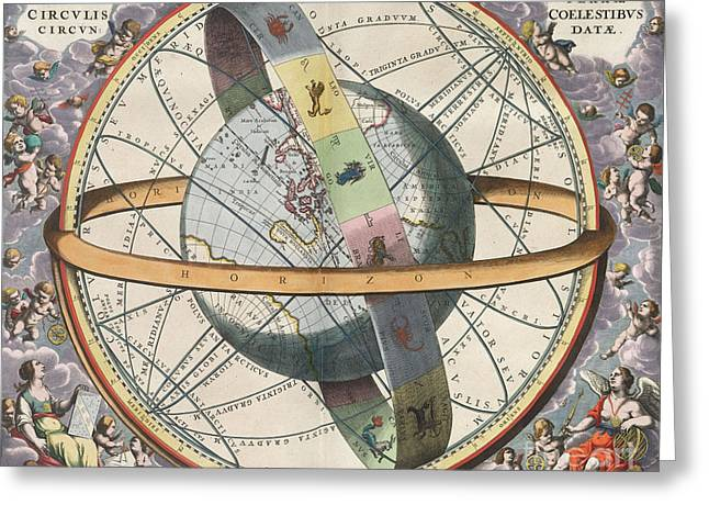 Macrocosmica Greeting Cards - Earth With Celestial Circles Harmonia Greeting Card by Science Source