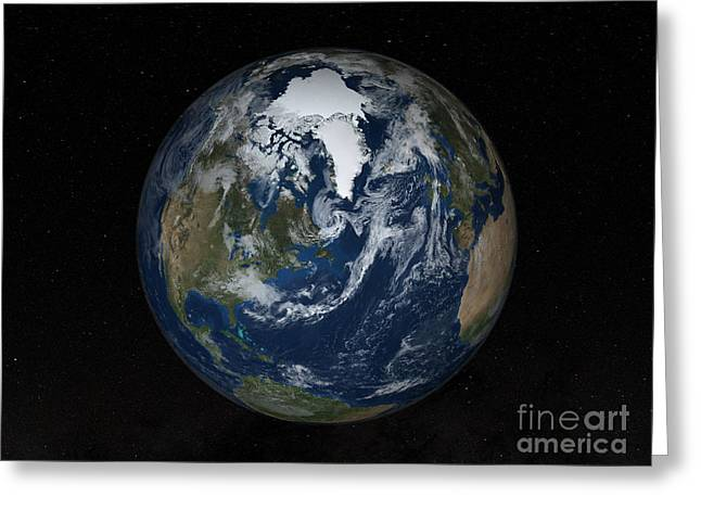 World Digital Map Greeting Cards - Earth With Clouds And Sea Ice Greeting Card by Stocktrek Images