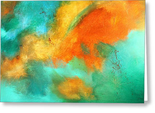 Sienna Greeting Cards - Earthbound Abstract Greeting Card by Nancy Merkle