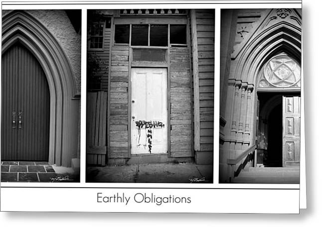 Obligation Greeting Cards - Earthly Obligations Greeting Card by Melissa Wyatt
